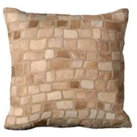 Mina Victory Natural Leather Hide Pebbles Square Throw Pillow in Beige