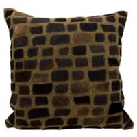 Mina Victory Natural Leather Hide Pebbles Square Throw Pillow in Chocolate