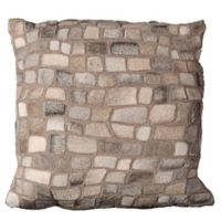 Mina Victory Natural Leather Hide Pebbles Square Throw Pillow in Silver