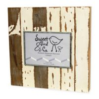 Sweet Bird & Co. 5-Inch x 7-Inch Reclaimed Wooden Photo Frame in Silvered White