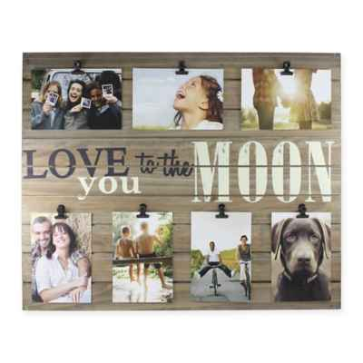 "Piney 7-Photo ""Love You to The Moon"" Wooden Collage Plank"