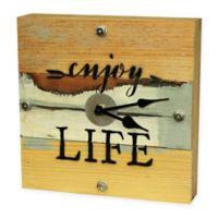 "Sweet Bird & Co. ""Enjoy Life"" Reclaimed Wooden Clock in Blue Whisper Finish"