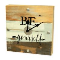 "Sweet Bird & Co. ""Be Yourself"" Reclaimed Wooden Clock in Blue Whisper Finish"