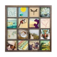 Umbar Gridart 16-Photo 4-Inch x 4-Inch Wooden Collage Frame in Walnut