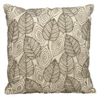 Michael Amini Leaves Square Throw Pillow in Ivory