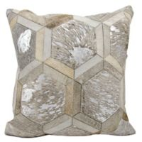 Michael Amini Big Hexagon Square Throw Pillow in Grey/Silver