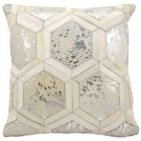 Michael Amini Big Hexagon Square Throw Pillow in White/Silver