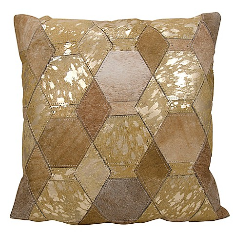 Buy michael amini hexagon square throw pillow in beige for Beige and gold pillows