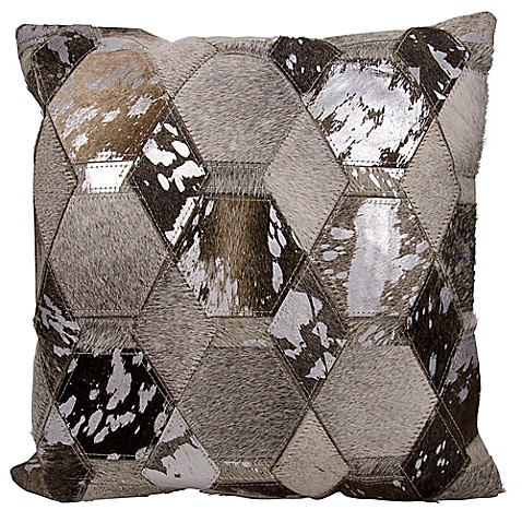 Throw Pillows Matching Curtains : Buy Michael Amini Hexagon Square Throw Pillow in Grey/Silver from Bed Bath & Beyond