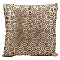 Mina Victory Bias Laser Cut Natural Leather Square Throw Pillow in Gold