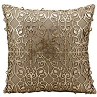 Mina Victory Saray Laser Cut Natural Leather 18-Inch Square Throw Pillow in Gold