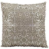 Mina Victory Saray Laser Cut Natural Leather 18-Inch Square Throw Pillow in Silver