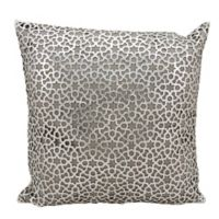 Mini Victory Couture Arabic Geometric Leather Throw 20-Inch Pillow in Silver