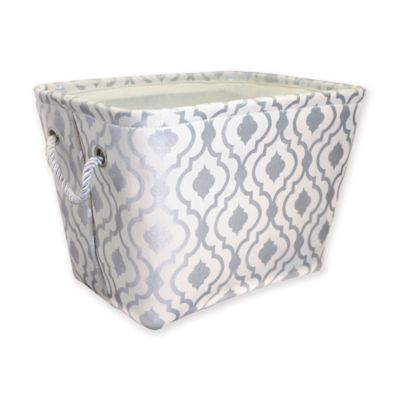 Canvas Storage Bin With Rope Handles In Gold Arrow