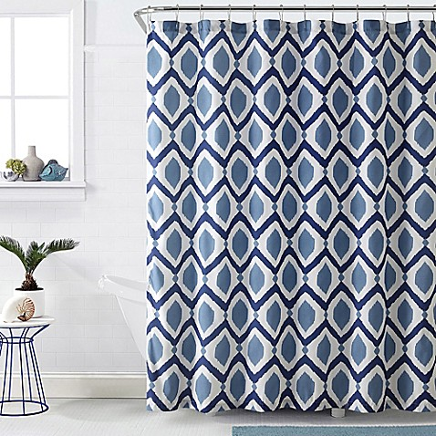 Vcny Santa Fe Shower Curtain In Navy White Bed Bath Beyond