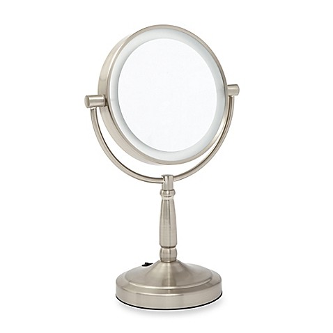 satin nickel bathroom mirror zadro 1x 5x led vanity mirror in satin nickel bed bath 20309