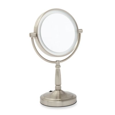 Zadro 1X/5X LED Vanity Mirror in Satin Nickel - Bed Bath & Beyond