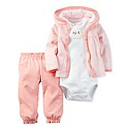 carter's® Newborn 3-Piece  Adorable  Cardigan, Bodysuit, and Pant Set in Pink
