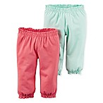 carter's® Size 3M 2-Pack Babysoft Ribbed Cotton Ruffled Pant in Melon/Mint