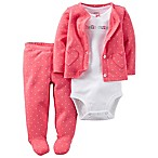 carter's® Size 3M 3-Piece Babysoft  Hello Cutie  Bodysuit, Footed Pant, and Jacket Set in Melon