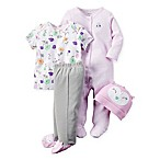 carter's® Size 3M 4-Piece Babysoft Owl Take Me Home Set in Purple/Grey