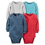 carter's® Size 6M 4-Pack Long Sleeve Bodysuits in Multicolor