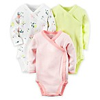 carter's® Newborn 3-Pack Side Snap Long Sleeve Bodysuits in Pink/Yellow