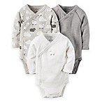 carter's® Newborn 3-Pack Side Cloud/Lamb/Stripe Bodysuits in Grey/White