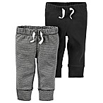 carter's® Size 6M 2-Pack Babysoft Ribbed Cotton Faux-Drawstring Pant in Dark Grey/Stripe