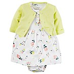 carter's® Size 6M 2-Piece Babysoft Floral Print Bodysuit Dress and Cardigan Set in Yellow/Pink