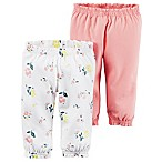 carter's® Size 6M 2-Pack Babysoft Ribbed Cotton Cuffed Faux-Drawstring Floral/Pink