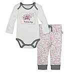 Burt's Bees Baby Size 9M 2-Piece Organic Cotton Bodysuit and Floral Pant Set in Ivory/Pink
