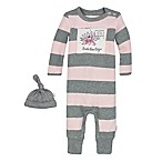 Burt's Bee's Baby® Size 3M Organic Cotton Thermal Stripe Coverall and Hat Set in Pink/Grey