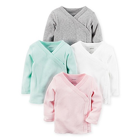 carter's® 4-Pack Pointelle Long Sleeve Kimono T-Shirts in Pink/Green/White/Grey