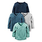 carter's® Size 3M 4-Pack Long Sleeve Kimono T-Shirts in Aqua/Teal/Grey/Navy