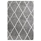 "Carpet Art Deco Cristal 2' x 3'9"" Shag Accent Rug in Grey"