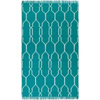 Surya Hines Peak 2-Foot x 3-Foot Recycled PET Indoor/Outdoor Area Rug in Teal