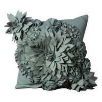 Mina Victory Flower Square Throw Pillow in Sky Blue