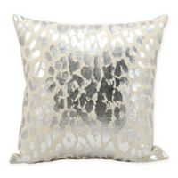 Kathy Ireland Home™ Leopard Print Square Throw Pillow in Silver