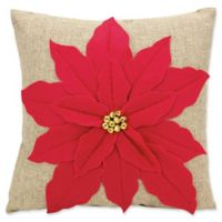 Mina Victory Home for the Holidays Poinsettia Throw Pillow in Red