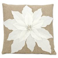 Mina Victory Home for the Holidays Poinsettia Throw Pillow in White