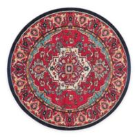 Safavieh Monaco Traditional 6-Foot 7-Foot Round Area Rug in Red/Turquoise