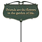 "Whitehall Products ""Friends Are The Flowers"" Outdoor Garden Poem Sign in Green/Gold"