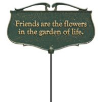 """Whitehall Products """"Friends Are The Flowers"""" Outdoor Garden Poem Sign in Green/Gold"""