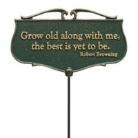 """Whitehall Products """"Grow Old Along With Me"""" Outdoor Garden Poem Sign in Green/Gold"""