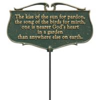 """Whitehall Products """"The Kiss Of The Sun"""" Outdoor Garden Poem Sign in Green/Gold"""
