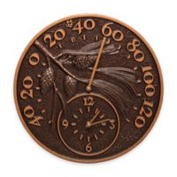 Whitehall Products Pinecone Thermometer Clock in Antique Copper