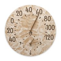 Whitehall Products Fossil Sumac Thermometer Clock in Weathered Limestone