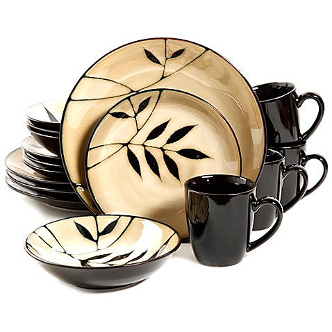 Gibson Elite Midnight Palm 16-Piece Dinnerware Set  sc 1 st  Bed Bath u0026 Beyond : elite dinnerware sets - pezcame.com