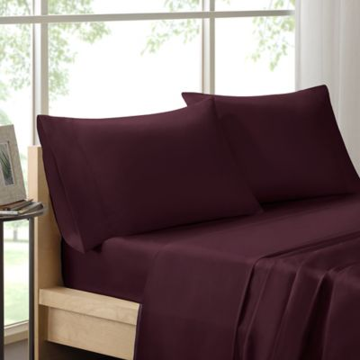 madison park cotton queen sheet set in plum